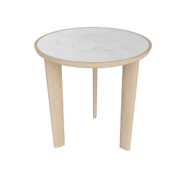 Port Side Table, Carrara Top Oak Base