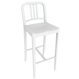 111 Navy Barstool, White