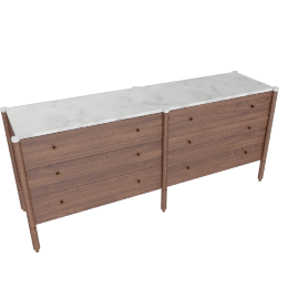 Morrison Wide Dresser, Walnut with Carrara