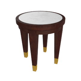 Polemos End Table - White/Dark Brown