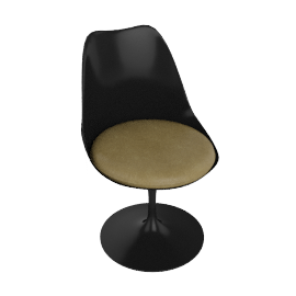 Saarinen Tulip Armless Chair - Volo Leather - Black.Olive