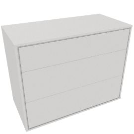 Napoli Gloss 3 Drawer Chest, White