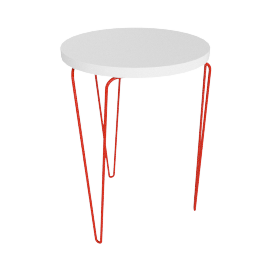 Florence Knoll Hairpin Stacking Table, White Top Red Base