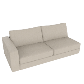 Reid One-Arm Sofa, Left in Leather, Ivory