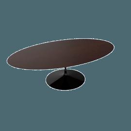 Saarinen Oval Dining Table 96'', Veneer - Black.DrkWalnt