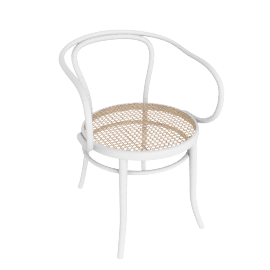 Era Round Armchair with Cane Seat - White