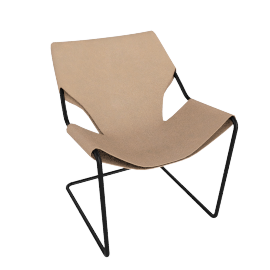 Paulistano Armchair in Leather, Black Frame with Natural