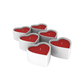 Valentine's Heart Tealights, Pack of 6