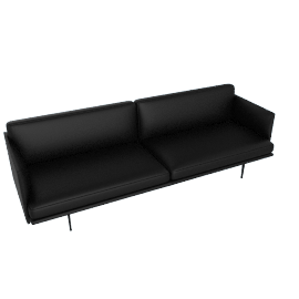 Outline Sofa, Prescott Leather - Black