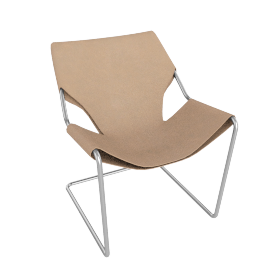 Paulistano Armchair in Leather, Stainless Steel Frame with Natural