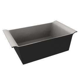 Ceramic Rectangular Dish, Black, L25cm