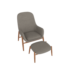 Nora Lounge Chair and Ottoman, Light Grey
