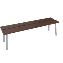 Run 3-Seat Bench, Walnut Top Aluminum Legs