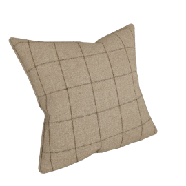 Moon Flannel Check Cushion, Beige