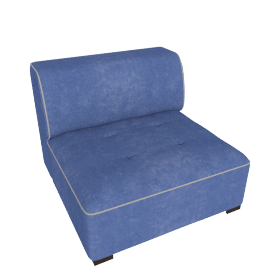 Caris Armless Sofa, Blue