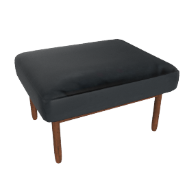 Raleigh Ottoman , Frame -Walnut, Vienna Leather -Ebony