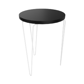 Florence Knoll Hairpin Stacking Table, Black Top White Base