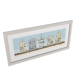 Sally Swannell - Row Of Beach Huts Framed Print, 52 x 107cm