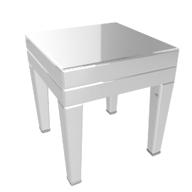 DOMINO END TABLE, SILVER