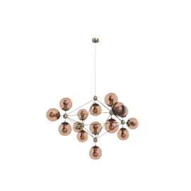 Modo Chandelier - 4 Sided - 15 Globe - Brass