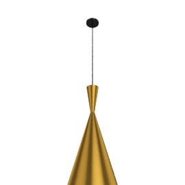 Beat Tall Pendant, Brushed Brass