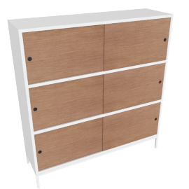 Sapporo Three High Shelving with Doors, White /Walnut Oak Doors