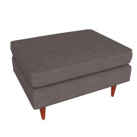 Bantam Chair Ottoman in Basket Fabric - Grey.Walnut