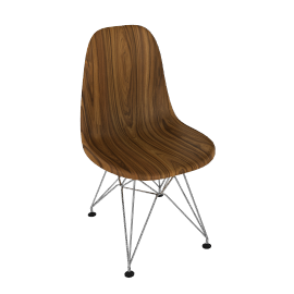 Eames Molded Wood Side Chair, Chrome Base
