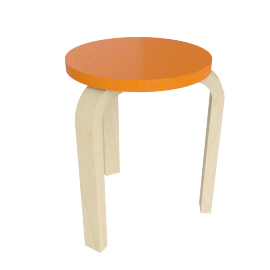 Stool 60, Lacquered Orange