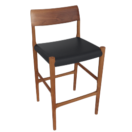 Moller Model 77C Barstool, Black Leather