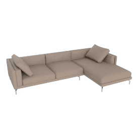 Como Sectional RF Chaise, Kalahari Leather, Grey
