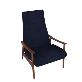 Milo Baughman Recliner 74, Lama Tweed Fabric, Indigo