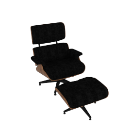 Eames Lounge Tall Chair and Ottoman, Mohair Supreme Slate with Walnut Shell