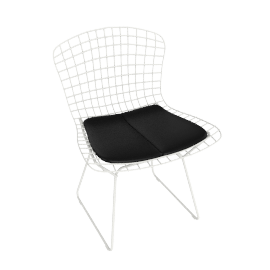 Bertoia Side Chair with Vinyl Seat Pad, Frame, White. Seat Pad, Black.