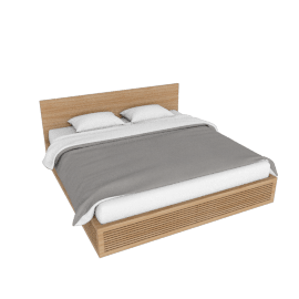 Line Storage King Bed, Oak