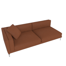 Como One-Arm Sofa in Leather, Left, Canyon