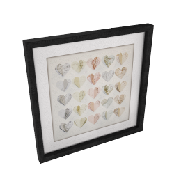 Hearts Maps Framed 3D Laser Cut, 40 x 40cm