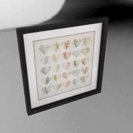 Hearts Maps Framed 3D Laser Cut, 40 x 40cm