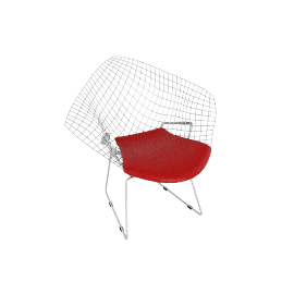 Bertoia Diamond Lounge Chair, Chrome with Vinyl Seat Pad Red