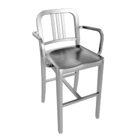 1006 Navy® Counter Stool with Arms – Brushed