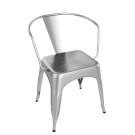 Tolix A56 Armchair, Raw Steel