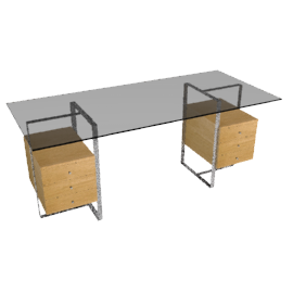Staten Large Glass Desk with Steel Trestles and 2 Drawer Packs