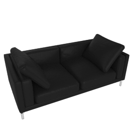 "Como 80"" Sofa in Leather, Black"