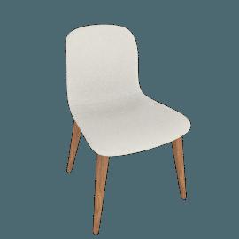 Bacco Chair, Tubular Steel legs, Bianco Leather
