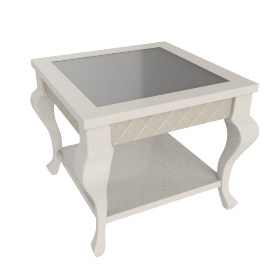 Juliette End Table, HG Pearl Beige/ Champagne Gold