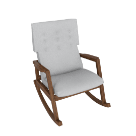Risom Rocker, Walnut, Soft Weave - Smoke