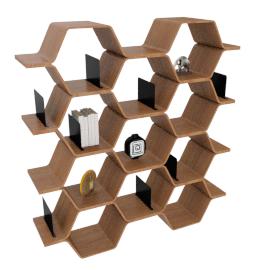 Polygon Shelving Unit, White Oak