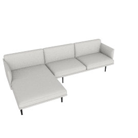 Outline Sectional with Left Facing Chaise, Maharam Mode - Shell