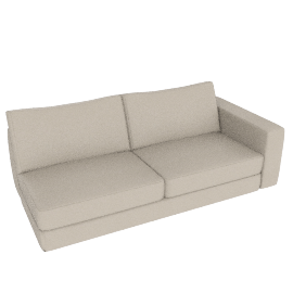 Reid One-Arm Sofa, Right in Leather, Ivory