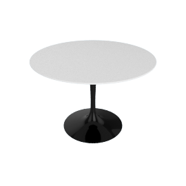 Saarinen Round Dining Table 42'', Laminate - Black.White